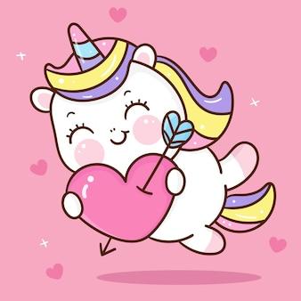 Animal kawaii de dessin animé mignon cupidon licorne pour la saint-valentin