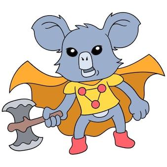 L'animal koala joue le rôle d'un super-héros portant une grosse hache, une illustration vectorielle. doodle icône image kawaii.