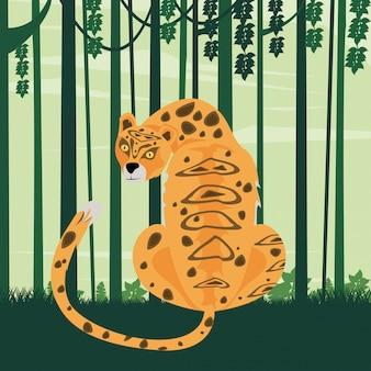 Animal léopard dans la scène de la jungle