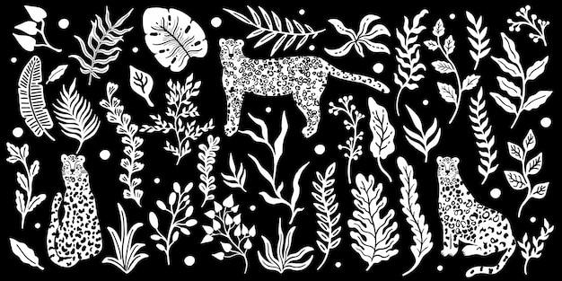 Animal léopard. fond de feuilles de plantes tropicales.