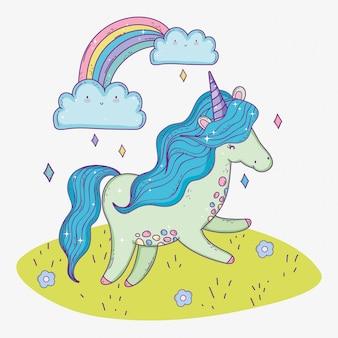 Animal licorne mignon et arc-en-ciel avec nuages