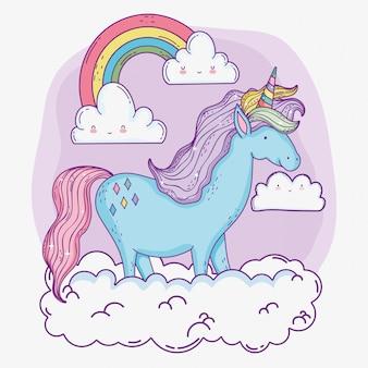 Animal licorne mignon avec arc-en-ciel et nuages