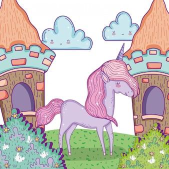 Animal licorne mignon avec des maisons et des nuages