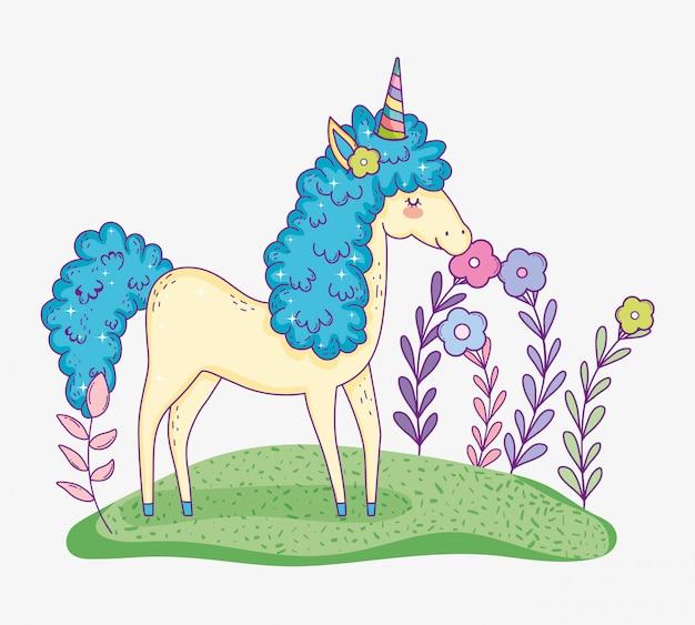Animal licorne mignon avec des plantes de fleurs