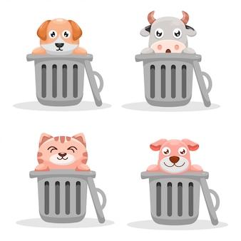 Animal mignon dans la poubelle peut concevoir une collection