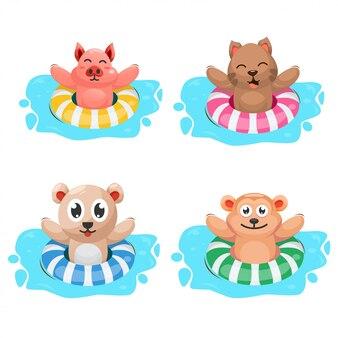 Animal mignon avec dessin animé anneau de natation