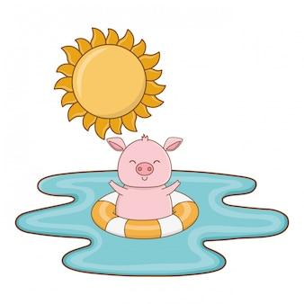 Animal mignon, dessin animé de l'heure d'été