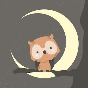 Animal mignon hibou dans le personnage de bande dessinée croissant de lune