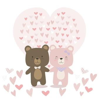 Animal mignon de nounours couple amoureux de dessin animé doodle