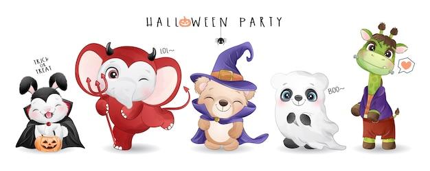 Animal mignon pour la journée d'halloween avec illustration aquarelle