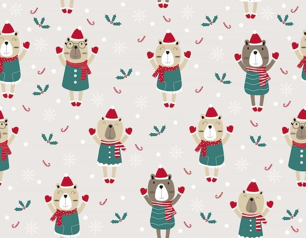 Animal modèle sans couture dessin animé mignon. illustration de noël avec des ours drôles.