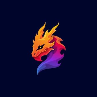 Animal mythologique dragon logo mascotte colorée