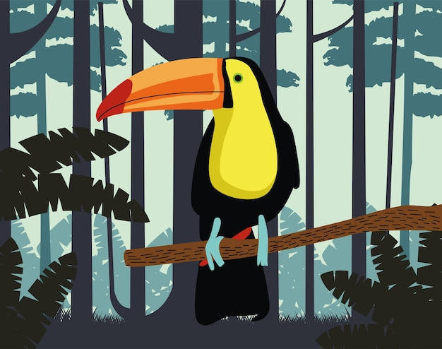 Animal oiseau exotique toucan sauvage dans la scène de la jungle