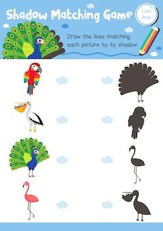 Animal oiseau jeu de correspondance des ombres