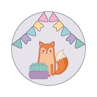 Animal de renard mignon avec plante d'intérieur et guirlandes