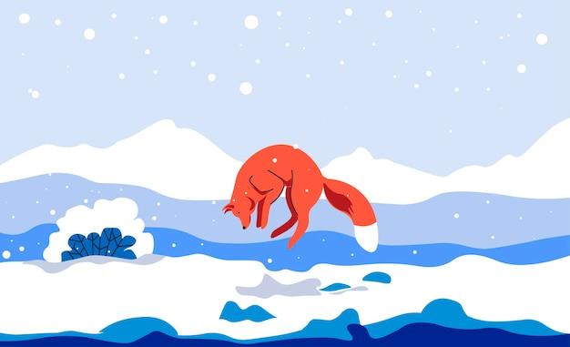 Animal de renard sautant sur le paysage d'hiver, nature à l'extérieur pendant la saison froide. gel en campagne ou en zone sauvage. faune et flore faunique. chaînes de montagnes et buissons couverts. vecteur dans un style plat