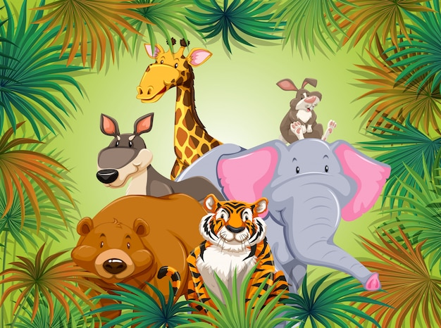 Animal sauvage sur fond de grean jungle
