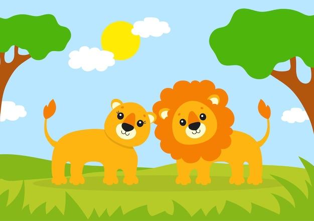 Animal sauvage mignon lion et lionne