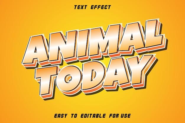Animal today effet de texte modifiable en relief dans un style moderne