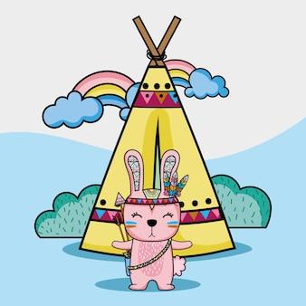 Animal tribal de lapin avec camp et illustration vectorielle arc-en-ciel