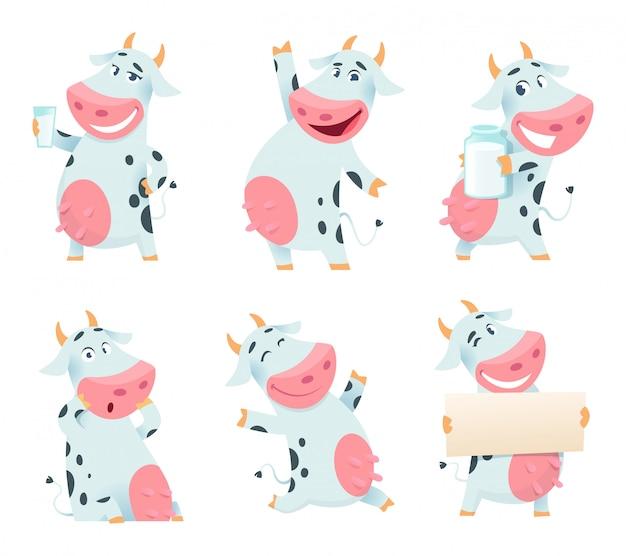 Animal de vache laitière. personnage de ferme de dessin animé mangeant et posant des mascottes de vaches isolées