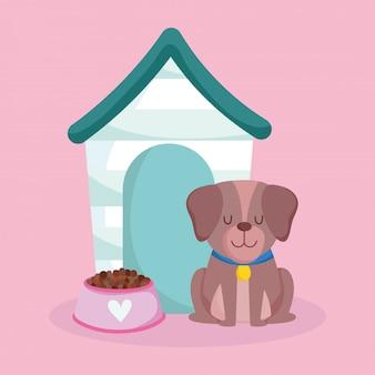 Animalerie, chien mignon assis maison et dessin animé domestique animal alimentaire