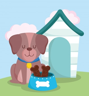 Animalerie, chien mignon assis avec de la nourriture pour collier et dessin animé domestique animal domestique
