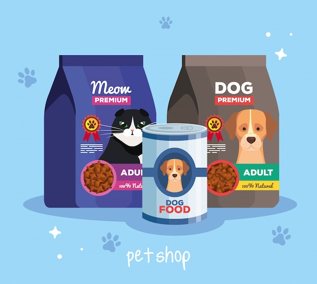Animalerie vétérinaire avec des aliments pour animaux