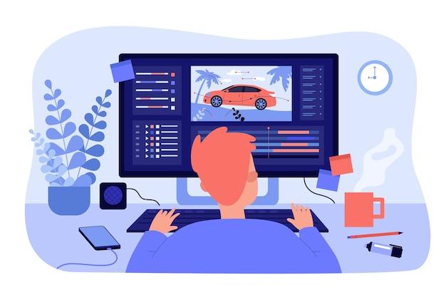 Animateur assis sur le lieu de travail et créant une illustration plate isolée de motion design