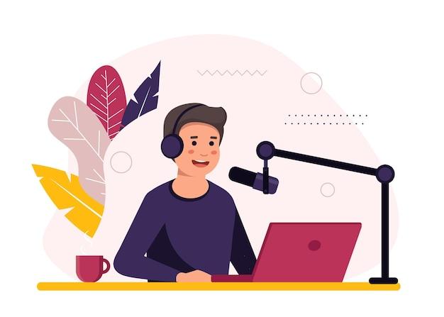 Animateur de radio assis devant l'illustration du microphone