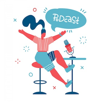 Animateur radio. hébergement multimédia dessin doodle. podcaster femelle avec bulle de dialogue avec inscription lettrage podcast, diffuseur au personnage de dessin animé isolé de l'espace de travail. illustration plate
