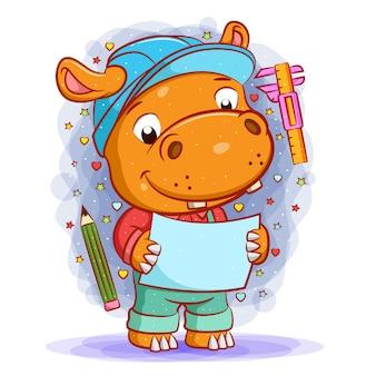 L'animation de l'architecte hippopotame tenant le papier de conception