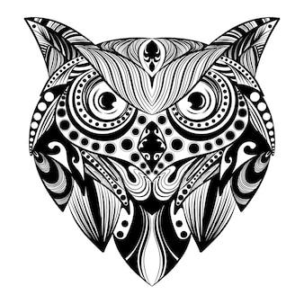 L'animation de l'art doddle hibou avec l'ornement de balles pour l'illustration de tatouage