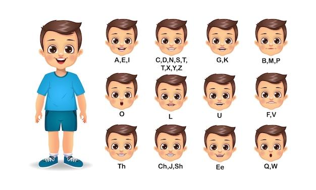 Animation de bouche enfant garçon et jeu de prononciation alphabet