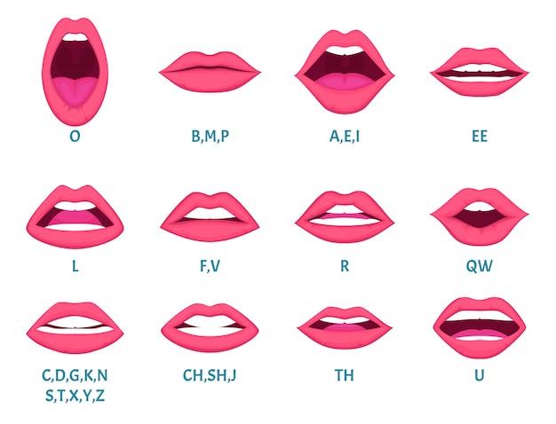 Animation de la bouche féminine. les lèvres sexy parlent la prononciation des sons modèle de cadres d'animation de lettres anglaises