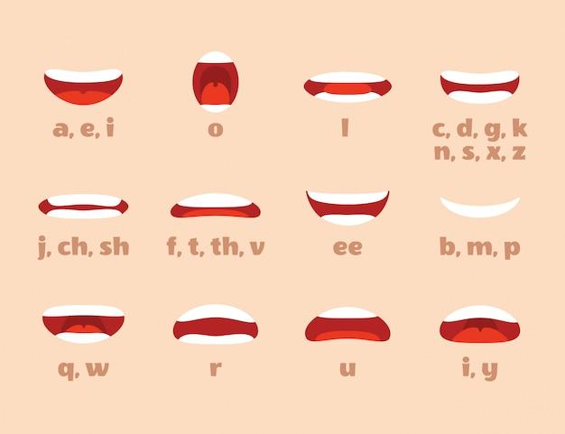 Animation de la bouche. les lèvres de dessin animé parlent d'expression, d'articulation et de sourire. parler parler bouche isolé