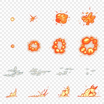 Animation de cadre, explosions et dessin animé de fumée mis isolé transparent