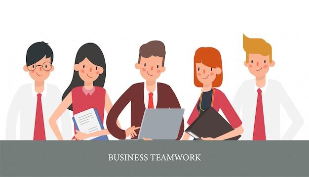 Animation collaborateur de gens d'affaires.