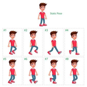 Animation du garçon marchant huit déambulateurs 1 poser vector cartoon isolé de characterframes statiques