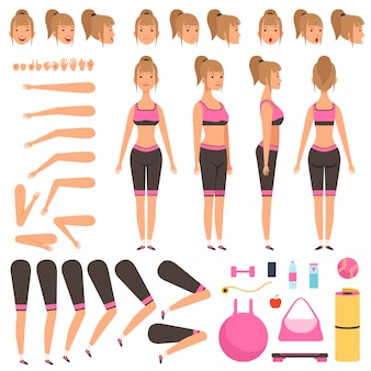 Animation de fille de sport. fitness personnages féminins parties du corps bras mains pied athlète constructeur d'entraînement