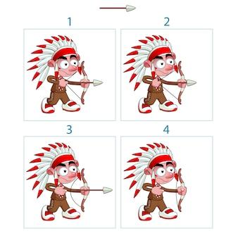 Animation de garçon indigène en 4 cadres avec arc et flèche isolé éléments vectoriels