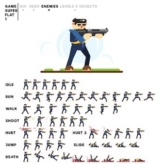 Animation d'un gars avec un fusil de chasse
