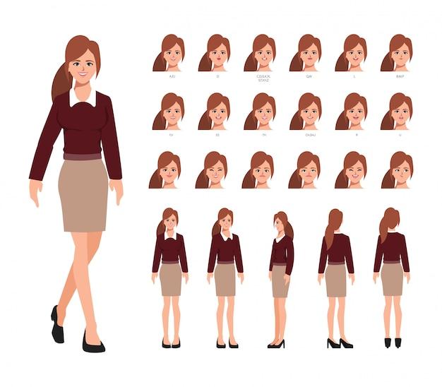 Animation de personnage de création de femme d'affaires avec des émotions face à la bouche d'animation.