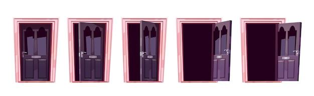 Animation de séquence de mouvement d'ouverture de porte de dessin animé