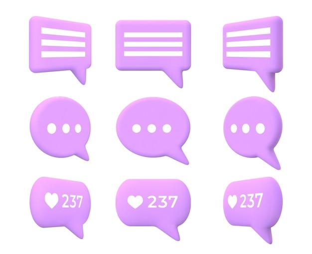Animation de tour de chat ou de message bulle 3d. icône de boîte de commentaire de dessin animé avec le nombre de goûts pour les médias sociaux ou l'ensemble de vecteurs d'application de messagerie de conversation