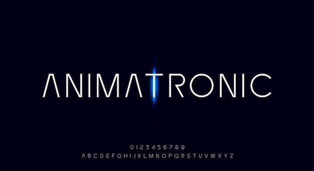 Animatronique une police de caractères propre et minimaliste avec un thème futuriste de l'espace