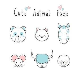 Animaux adorables mignons visage dessin animé doodle pastel