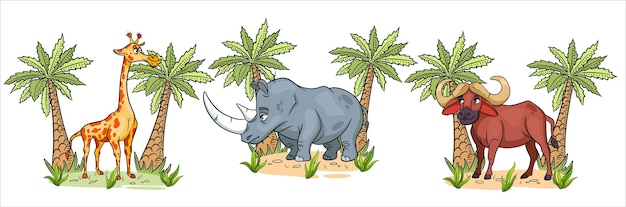 Animaux africains. personnages drôles animaux girafe, rhinocéros, buffle avec des palmiers en style cartoon. illustration pour enfants. collection de vecteurs.
