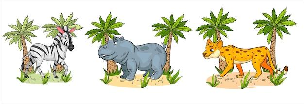 Animaux africains. personnages drôles animaux zèbre, hippopotame, guépard avec des palmiers en style cartoon. illustration pour enfants. collection de vecteurs.