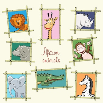 Animaux d'afrique dans un cadre en bois